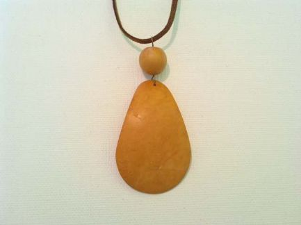 Curved wooden pendant necklace